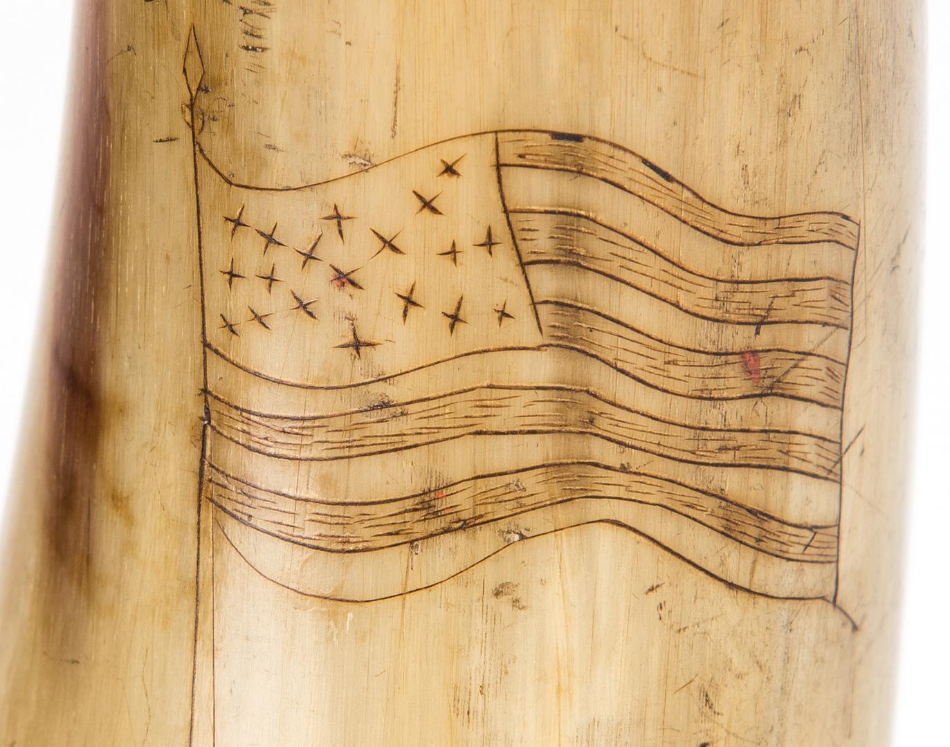 Lot 611: Union Scrimshaw & Carved Powder Horn, Chantilly VA