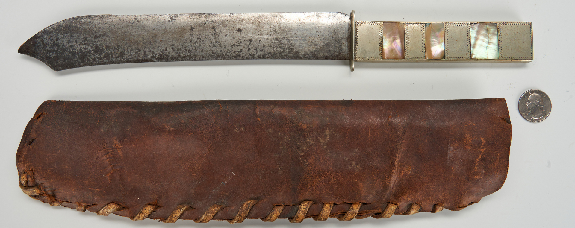 Lot 612: Abalone Handle Knife with Leather Sheath, with provenance