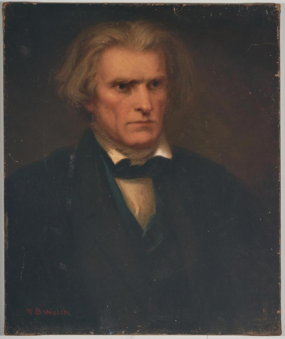 Lot 614: Attr. T.B. Welch, John Calhoun Portrait, 19th c.