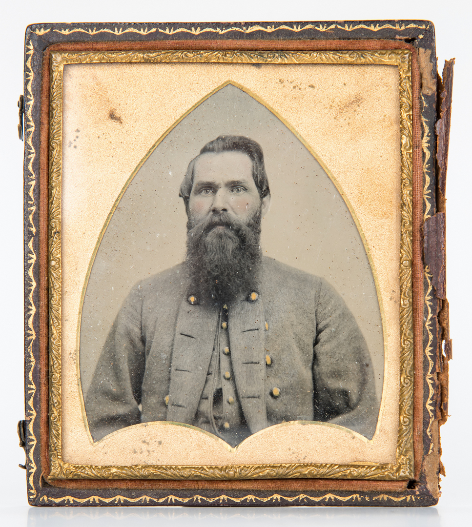 Lot 619: 2 Ambrotypes, incl. Confederate Soldier
