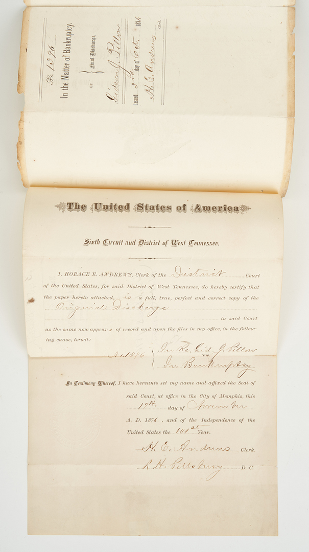 Lot 621: TN Battle Print and Gideon Pillow Bankruptcy Document