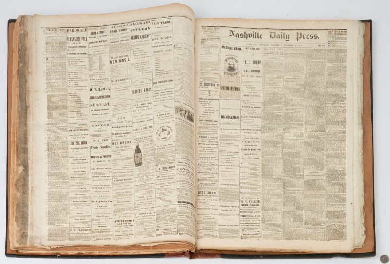 Lot 623: Collection of Nashville Civil War Newspapers, Jan-Feb to Sept-Dec 1864