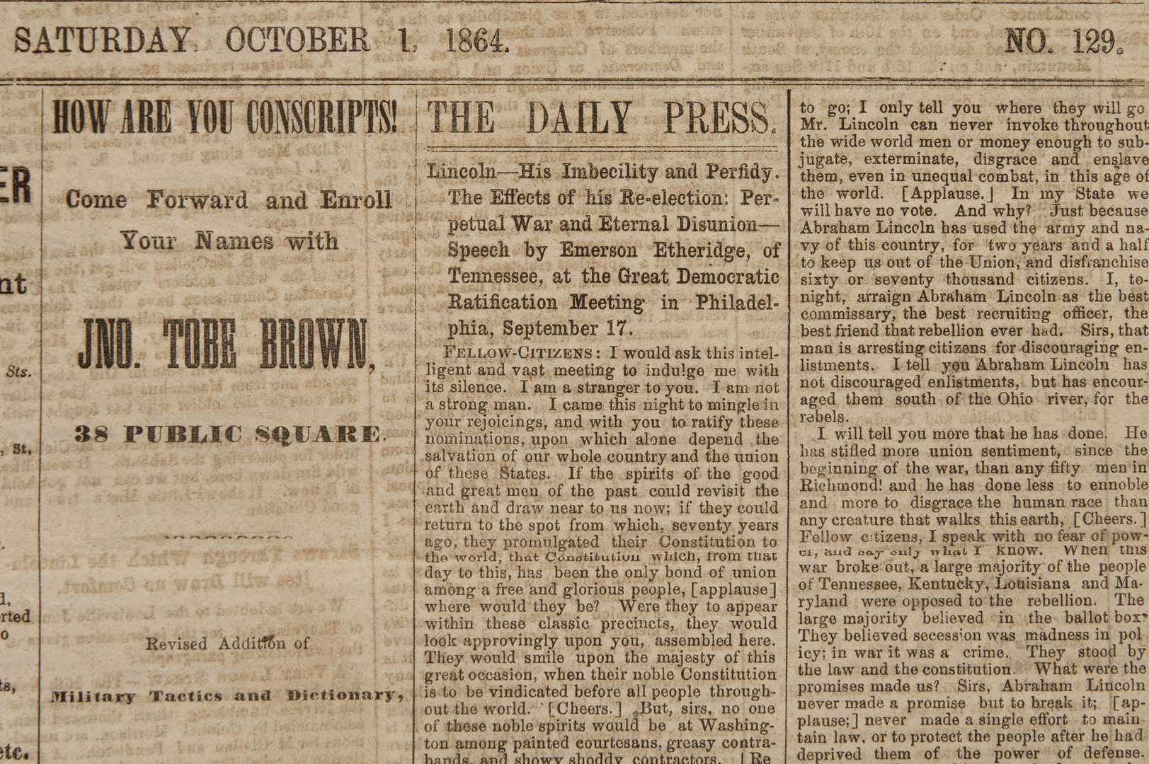 Lot 623: Collection of Nashville Civil War Newspapers, Jan-Feb to Sept-Dec 1864