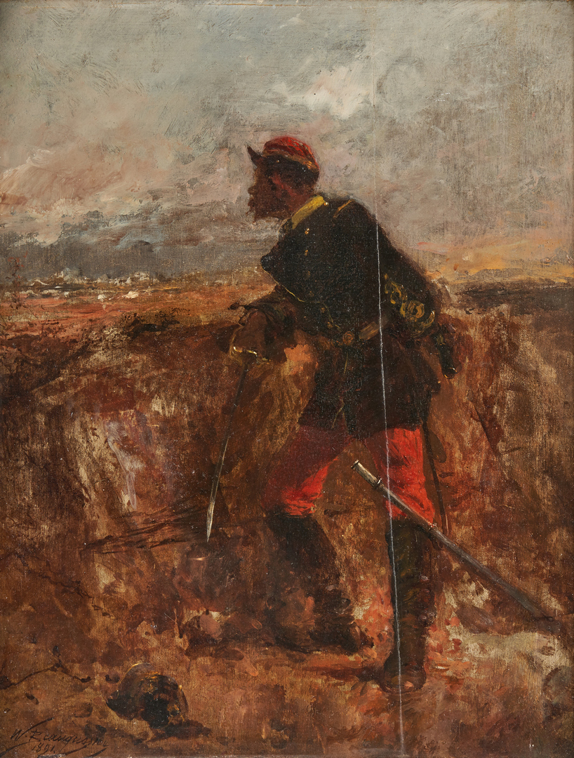 Lot 625: W.C. Beauquesne O/B, Soldier Painting