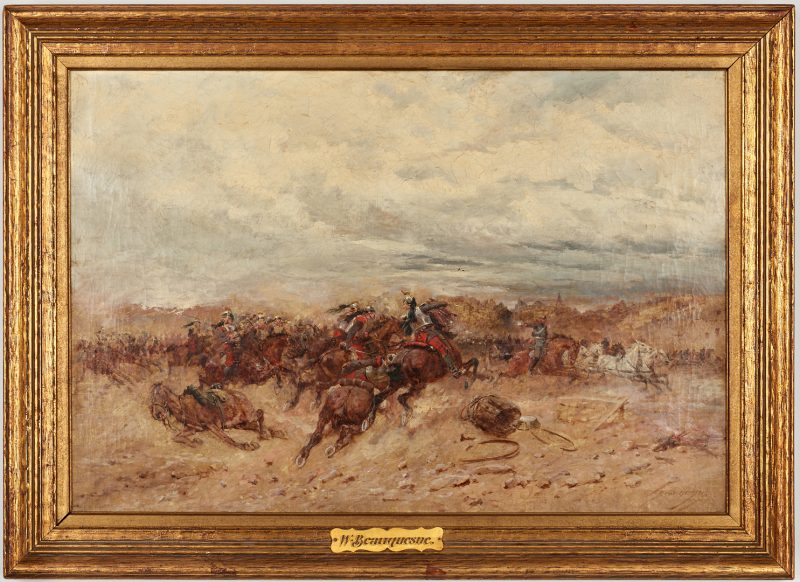 Lot 626: Wilfrid C. Beauquesne O/C Battle Scene
