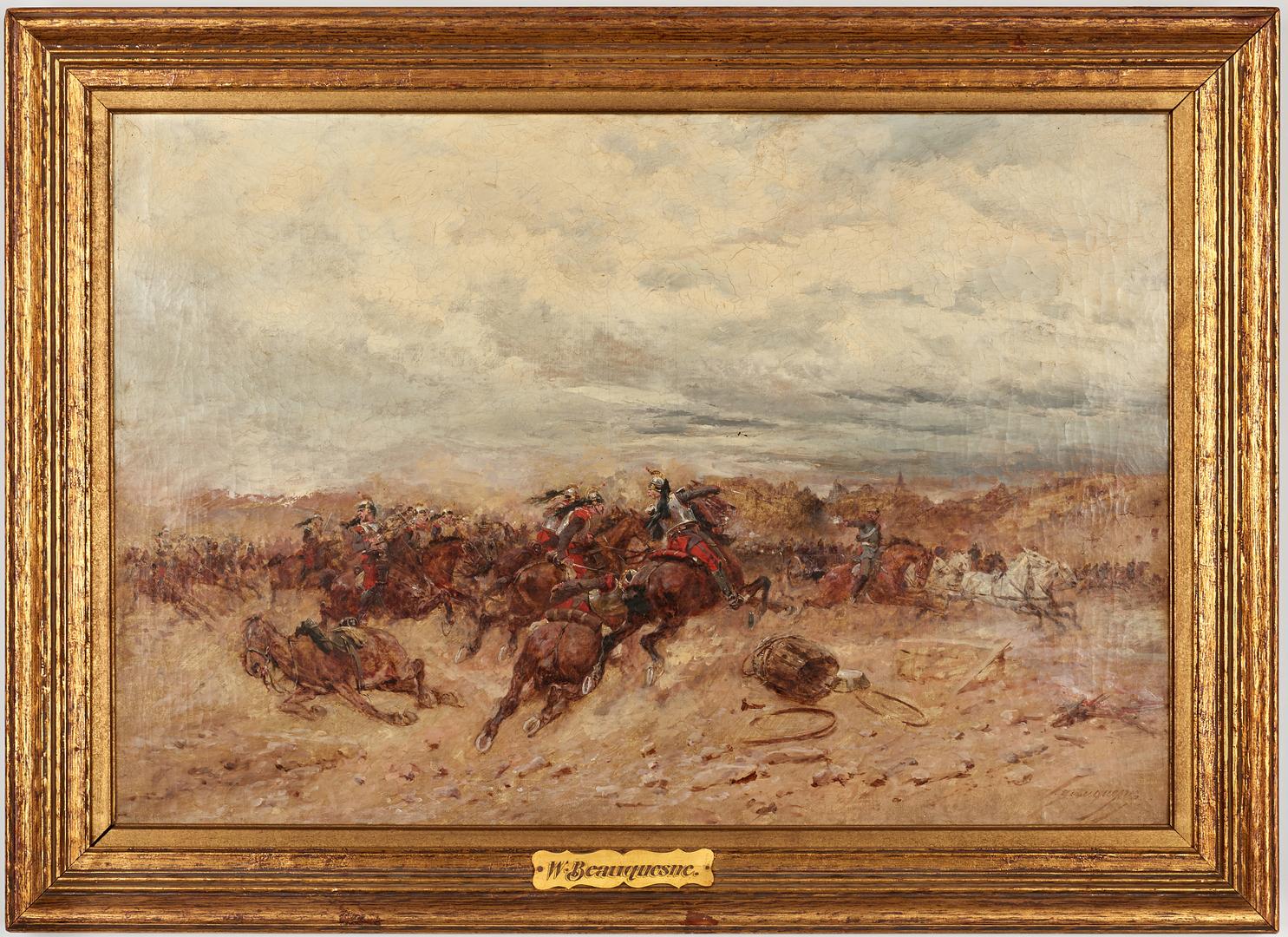 Lot 626: Wilfrid C. Beauquesne O/C Battle Scene