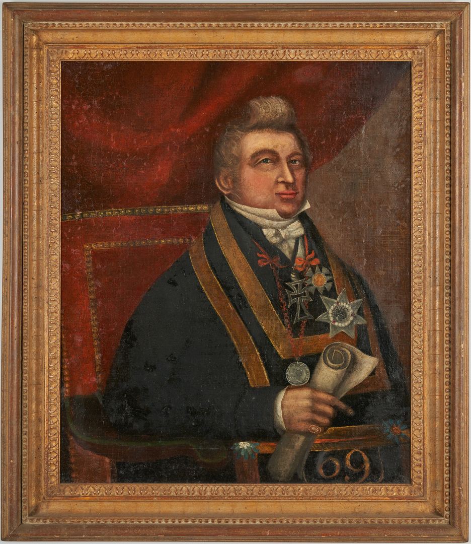 Lot 627: Portrait of a Man with Memento Mori and Wm. III medallions