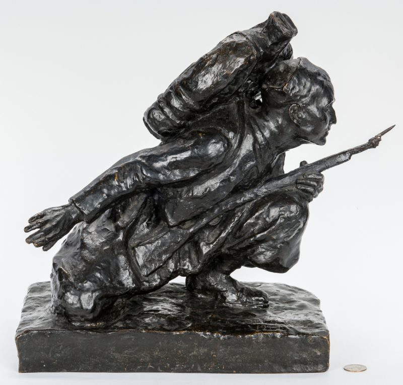 Lot 629: WWI Bronze Figural Sculpture of a Soldier