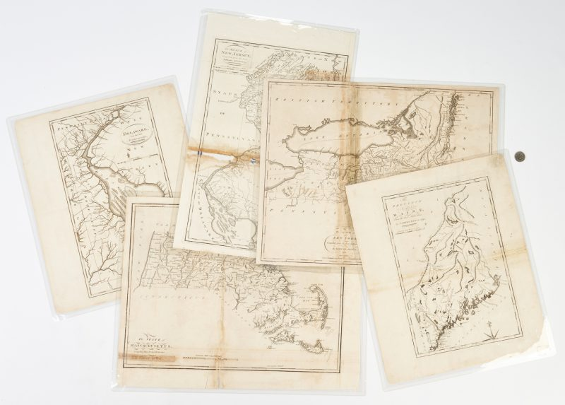 Lot 630: 5 American Maps c. 1795: Carey, Lewis