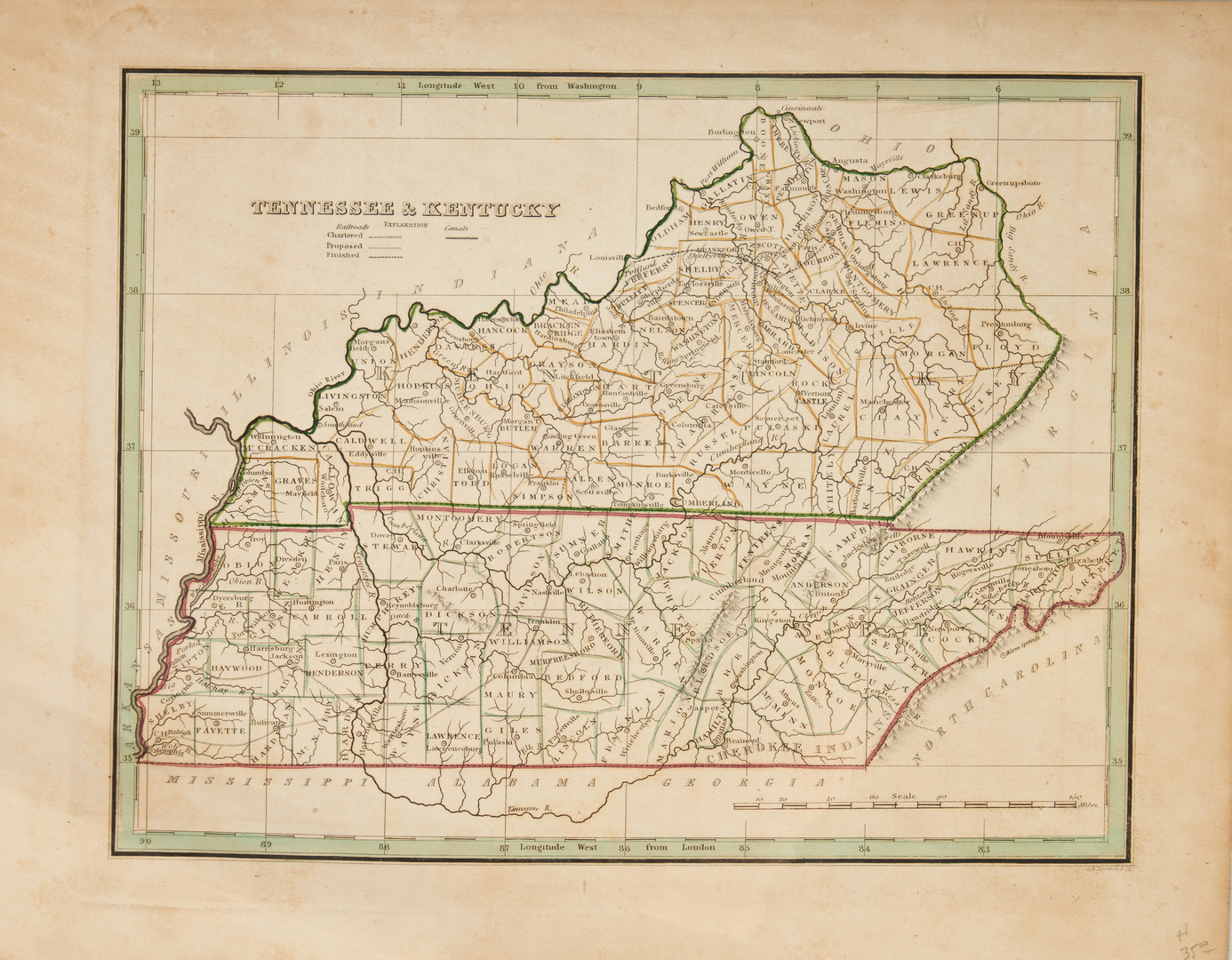 Lot 633: 6 mid-19th C. Maps incl. TN & KY Map