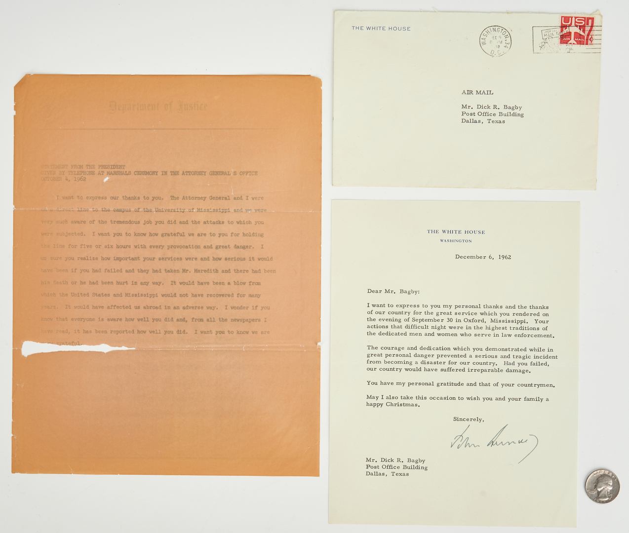 Lot 639: JFK and RFK Letters & Archive, U.S. Marshal Dick Bagby