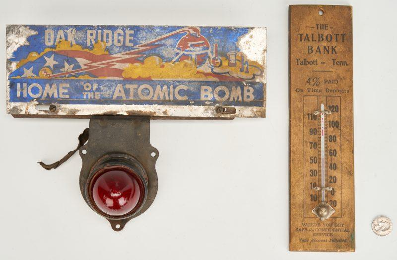 Lot 647: Oak Ridge Atomic Bomb Topper & Bank Thermometer