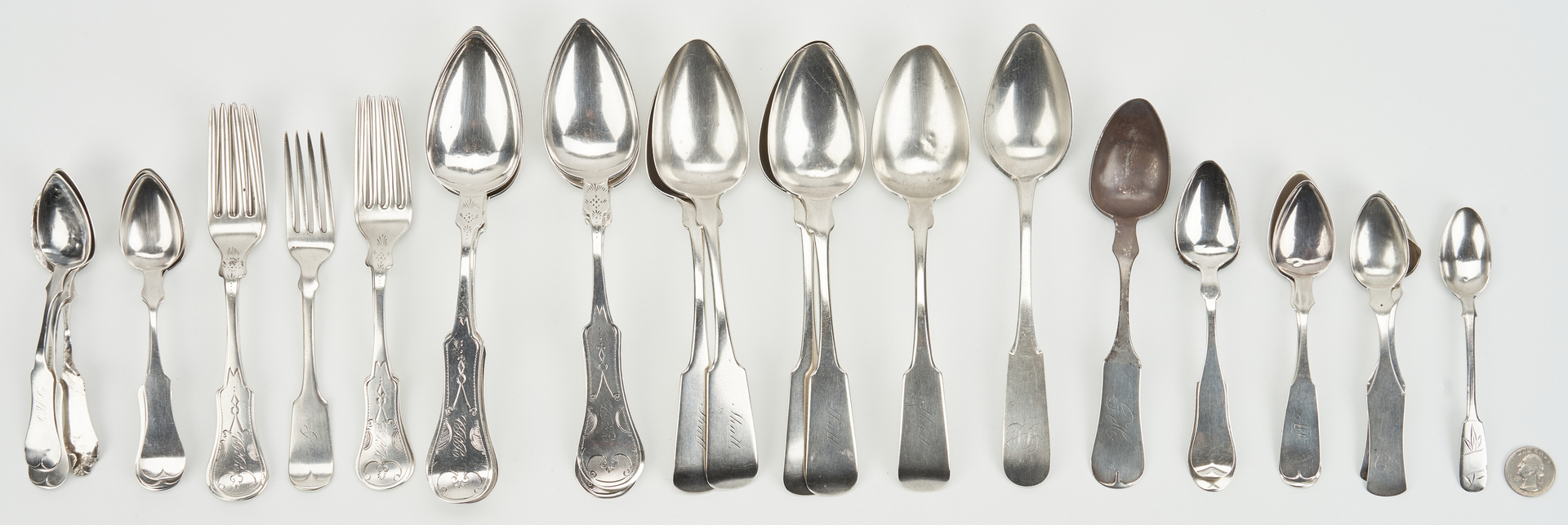 Lot 64: 35 pcs flatware, most coin silver inc. KY makers