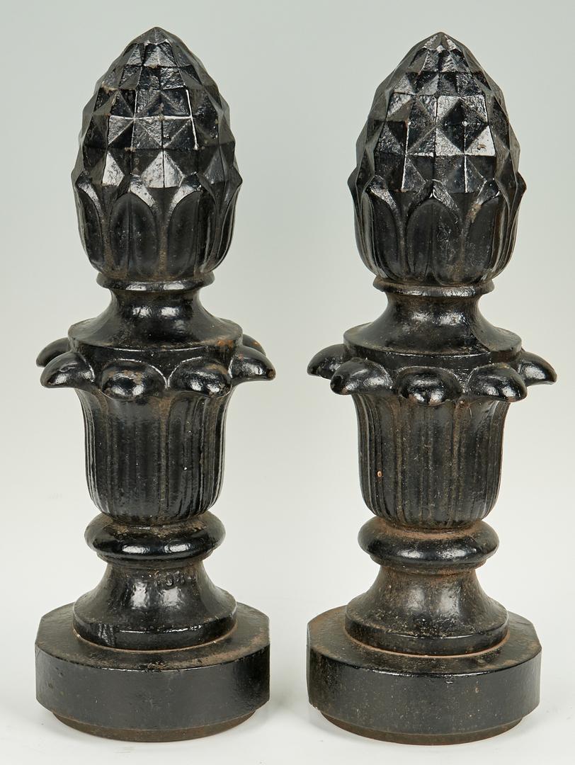 Lot 650: Pair Cast Iron Pineapple Garden Finials