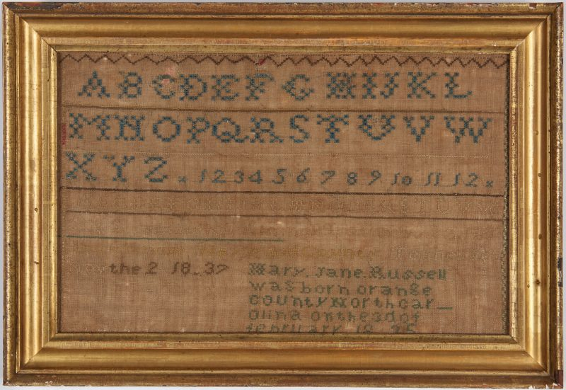Lot 659: West Tennessee Sampler, 1837, Mary Jane Russell