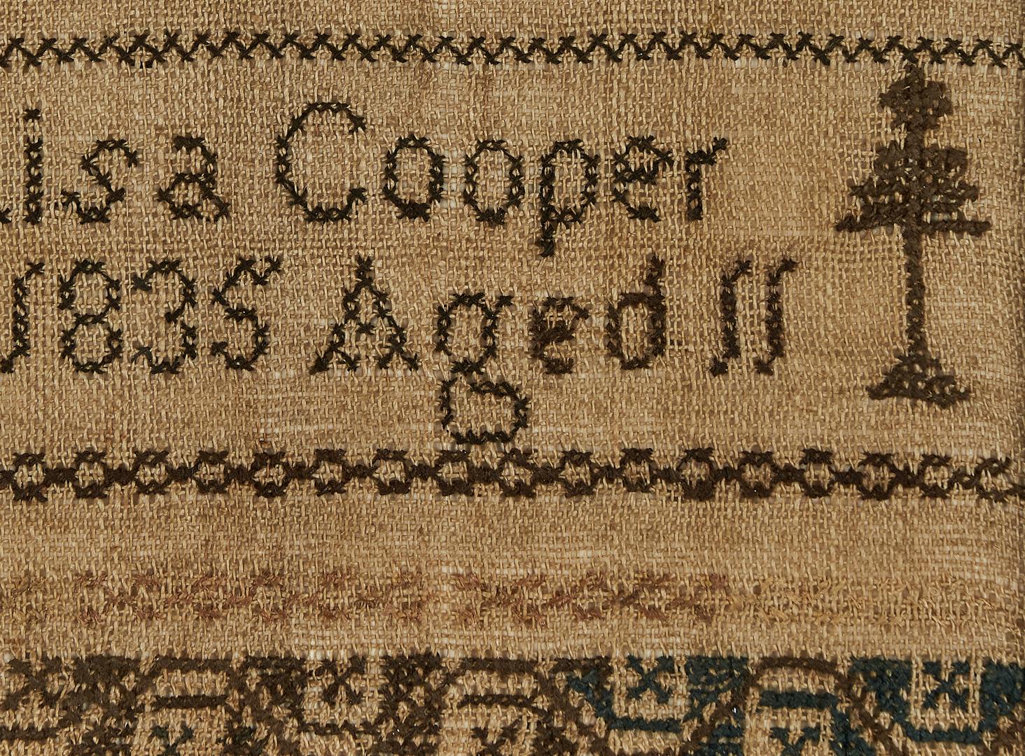 Lot 661: 1835 Kentucky Sampler, Louisa Cooper Hogland