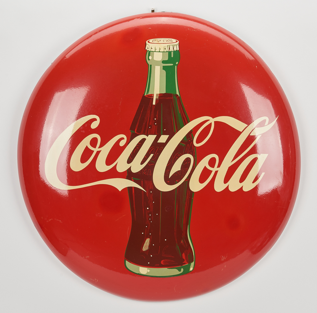 Lot 667: 2 Coca-Cola Button Advertising Signs