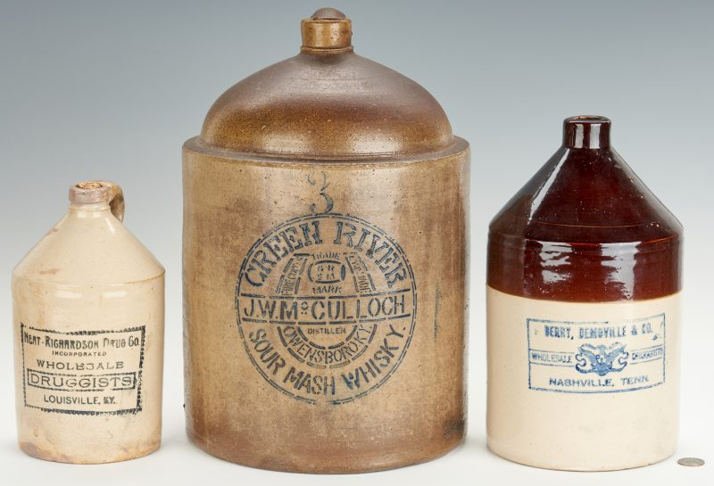 Lot 668: 3 KY and TN Whiskey Jugs inc Green River