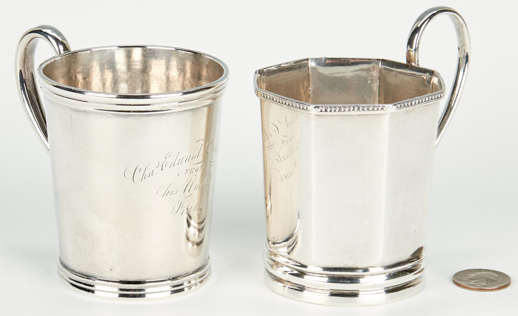 Lot 66: 2 Coin Silver Mugs, incl. Kentucky