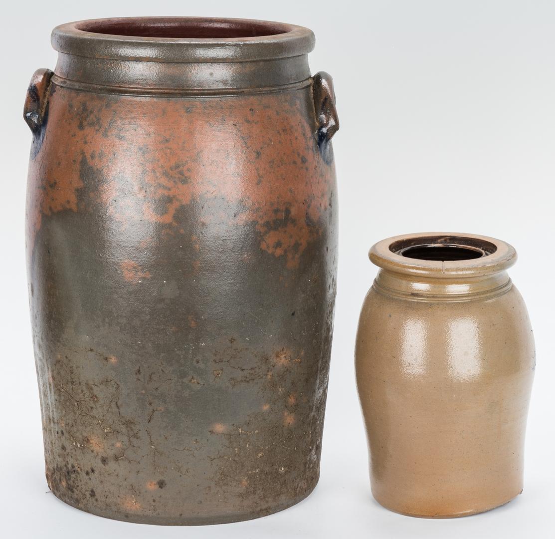 Lot 671: 2 Cobalt Decorated Stoneware Items, PA & West VA