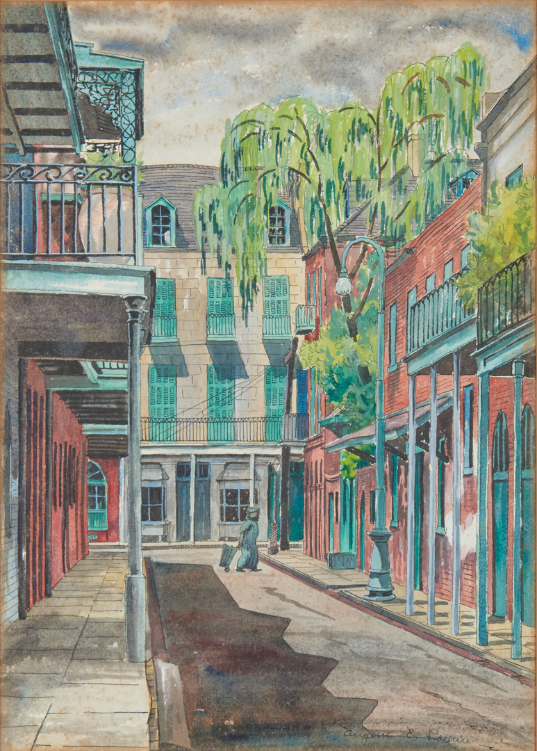 Lot 672: 3 Eugene Loving Watercolors, French Qtr. New Orleans