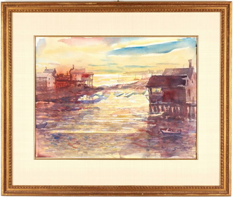 Lot 675: Carl Sublett Watercolor, Boats in Harbor