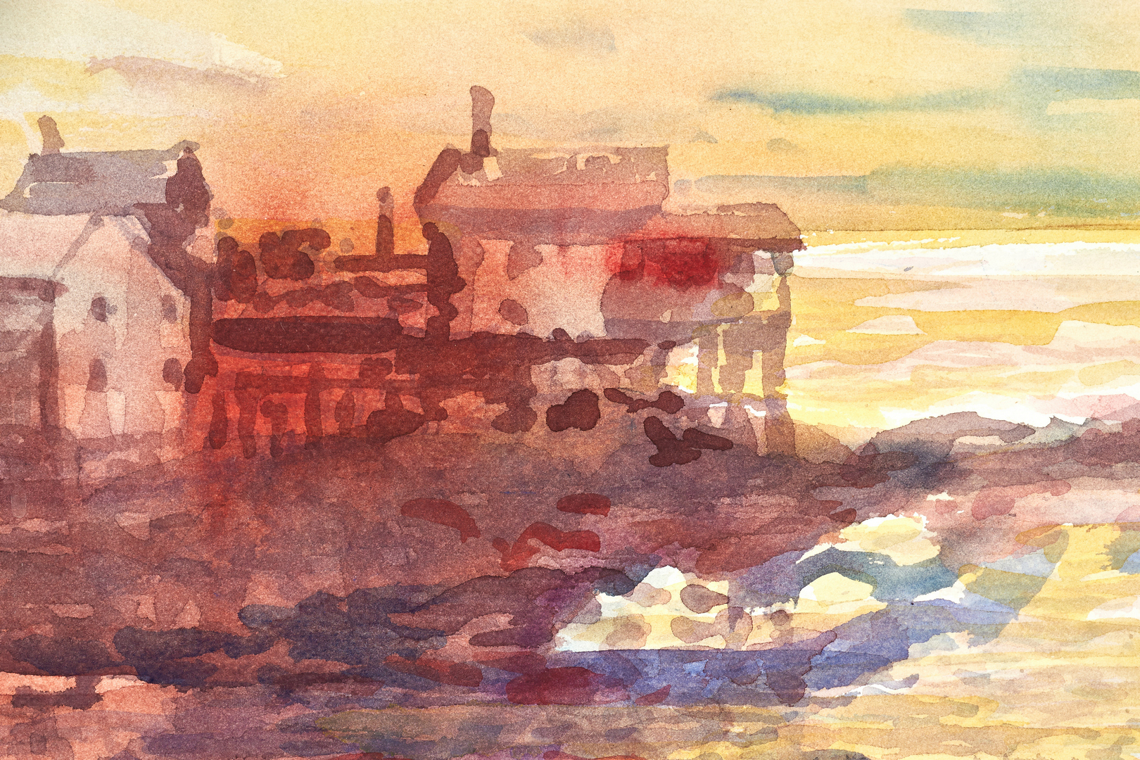 Lot 675: Carl Sublett Watercolor, Boats in Harbor