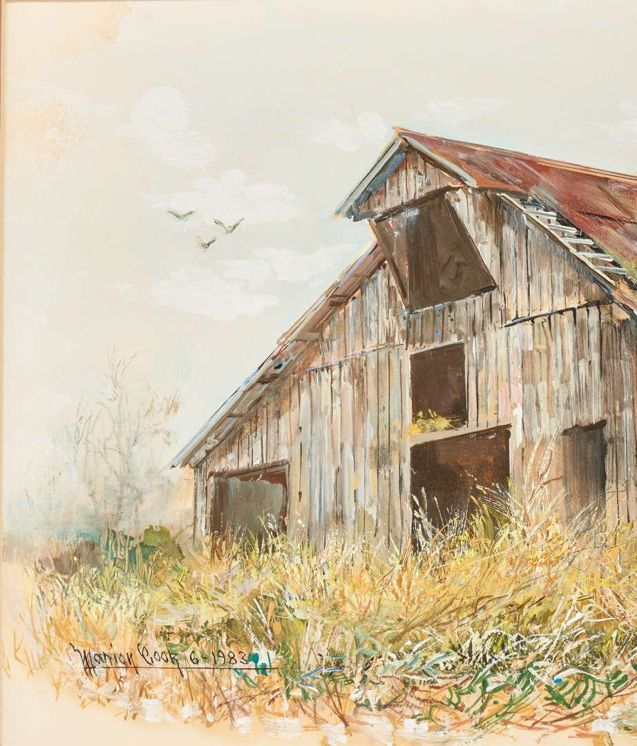 Lot 678: Marion Cook Barn, Oil on Paper Landscape