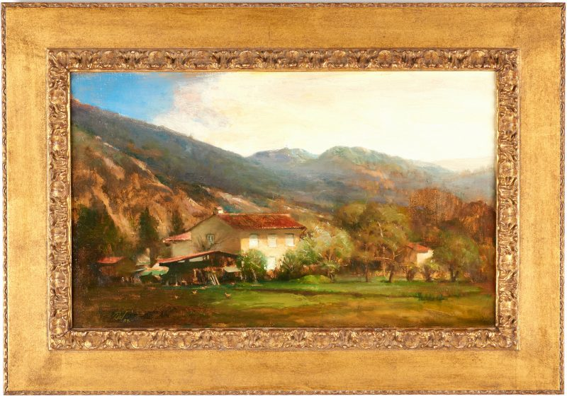 Lot 680: David Leffel O/C Italian Landscape Painting