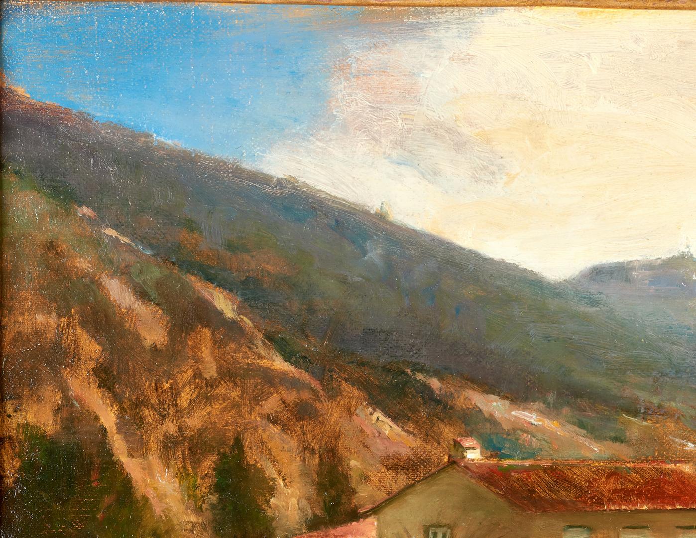 Lot 680: David Leffel O/C Italian Landscape Painting