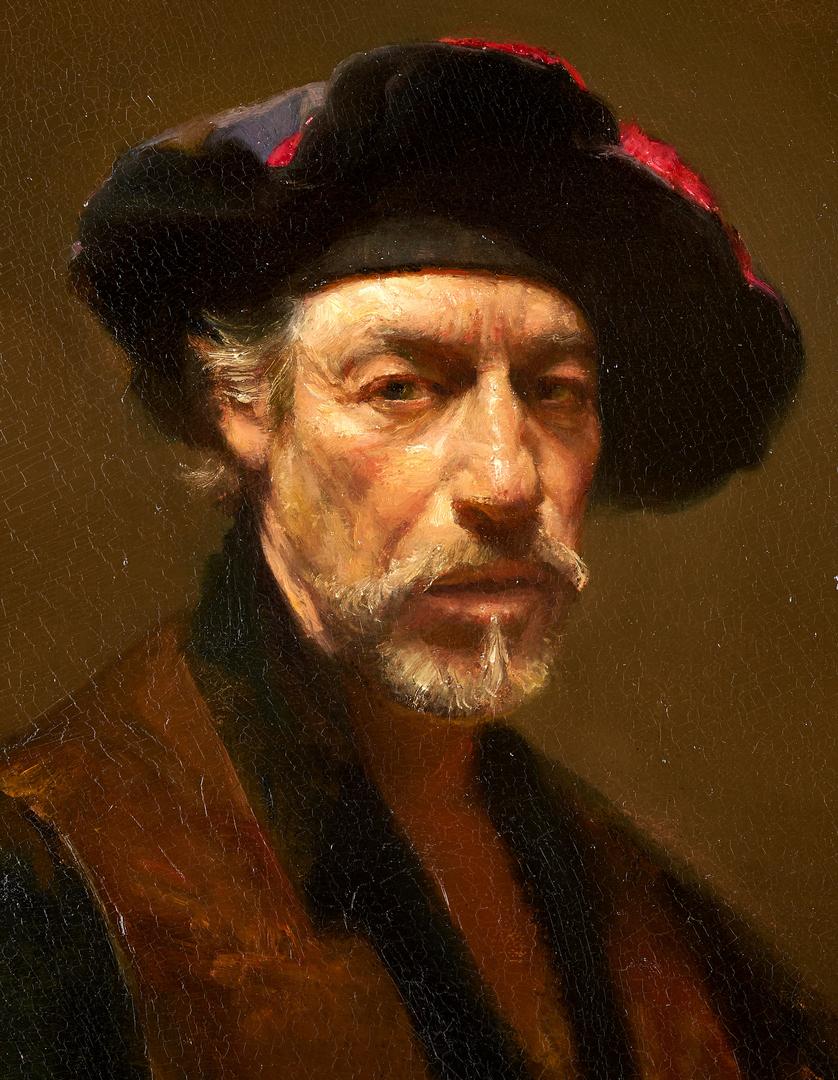 Lot 681: David Leffel O/C, Self Portrait