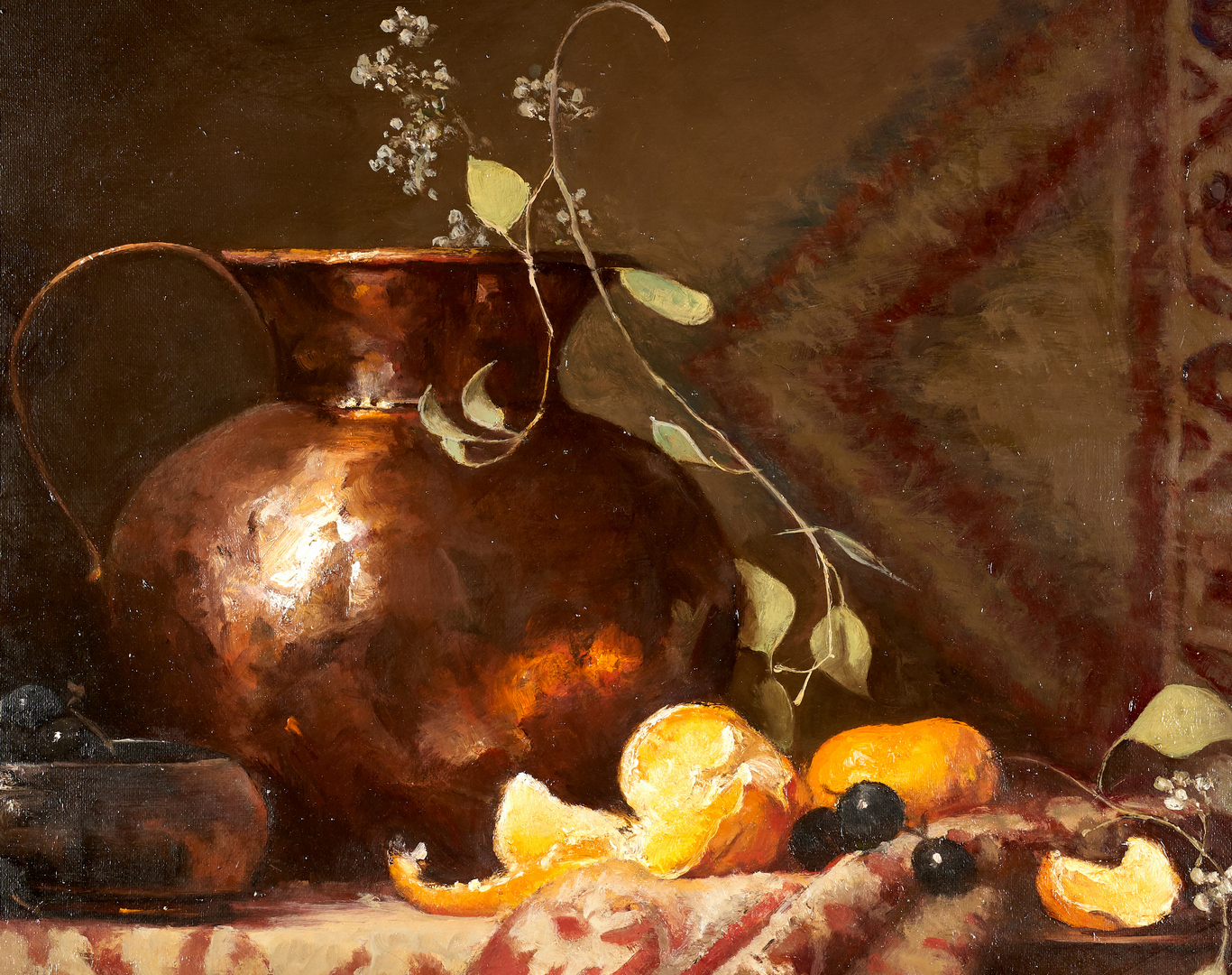 Lot 682: Eleanor Moore, Still Life With Copper Pot and Oriental Carpet
