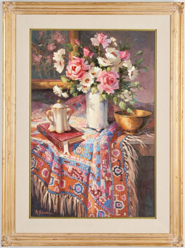 Lot 684: Maxine Johnston O/C, Still Life with Oriental Rug
