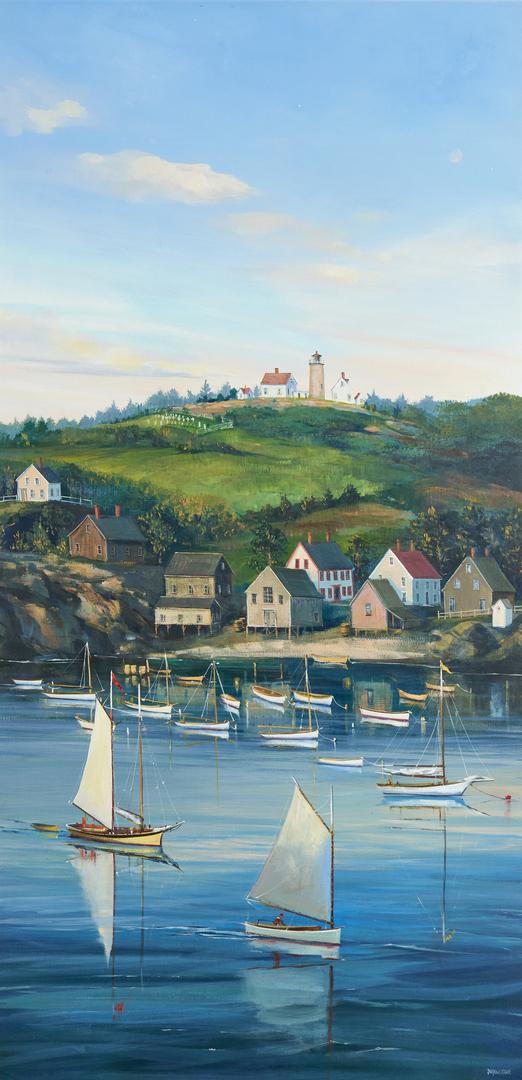 Lot 687: Sally Caldwell Fisher O/B Coastal Scene