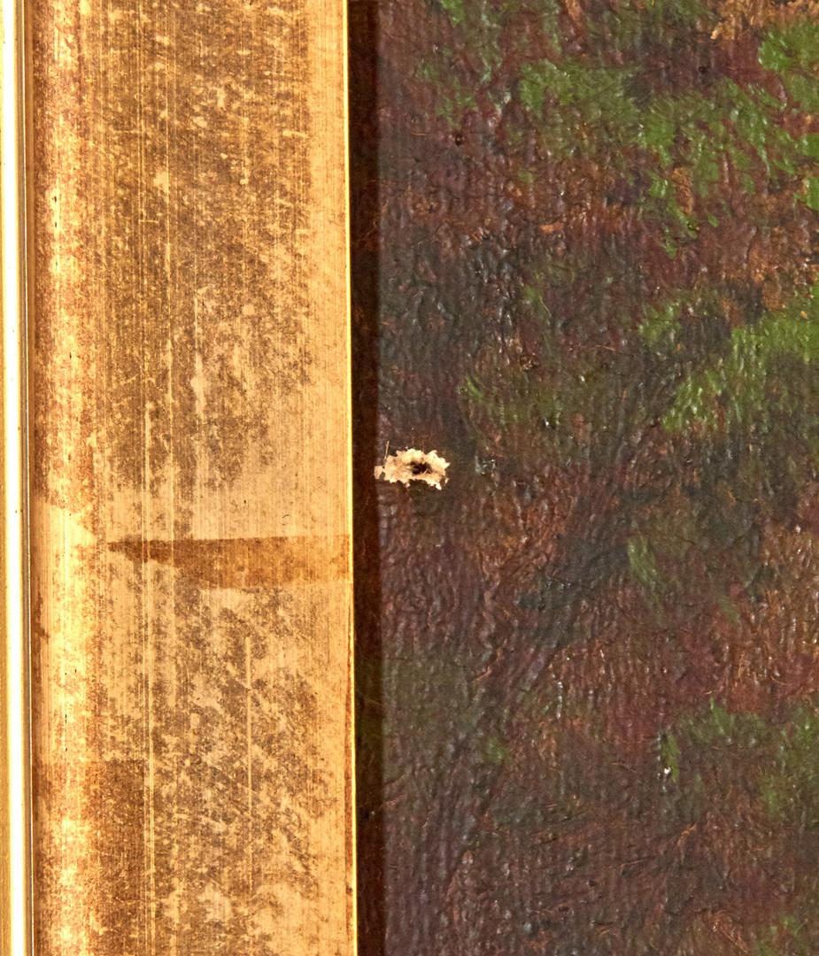 Lot 689: 2 American School Landscape Paintings, Cattle & Dogs