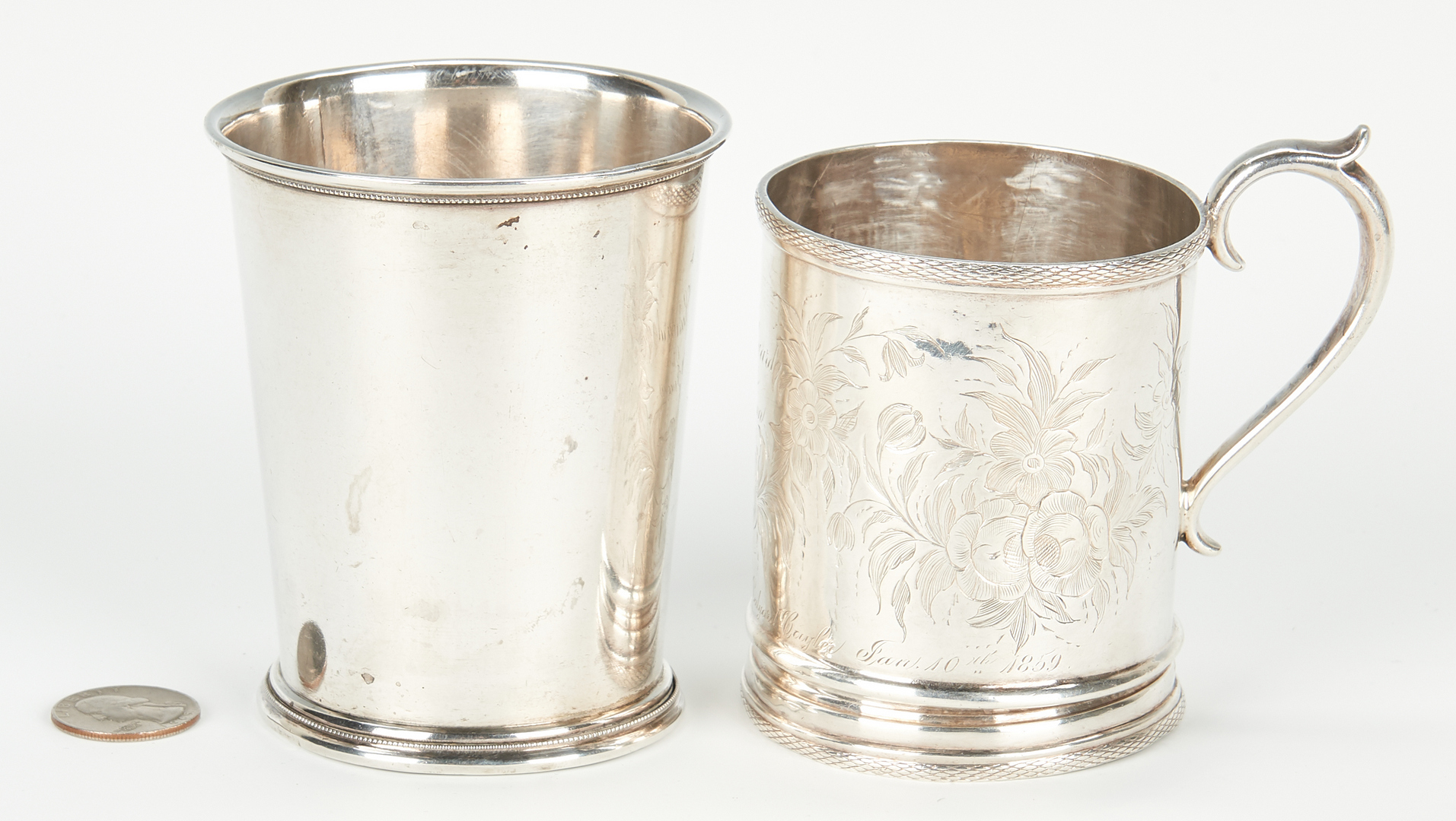 Lot 68: 2 Coin Silver Cups, incl. Hudson & Dolfinger