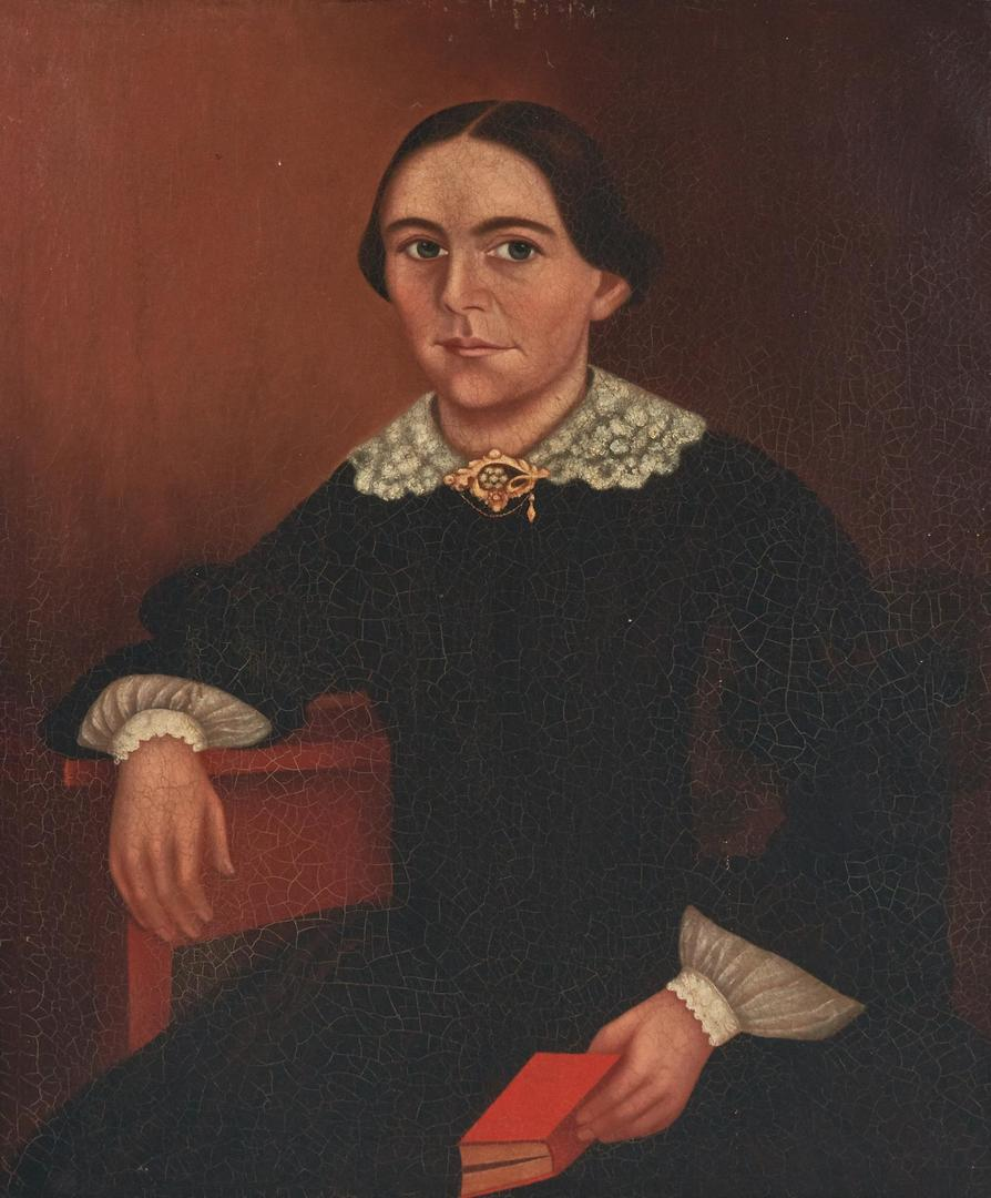 Lot 690: American School O/C Painting, Woman with Book