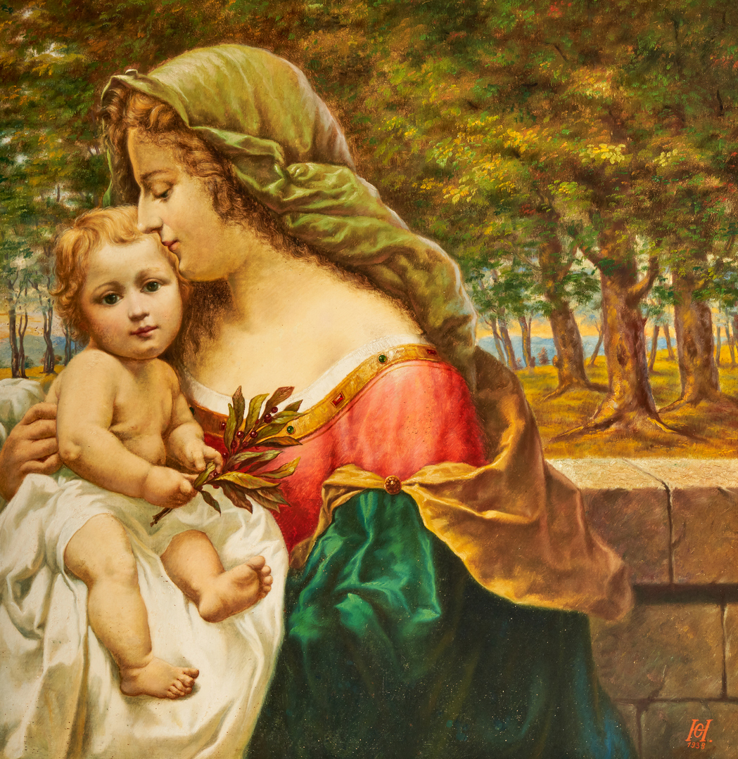 Lot 691: Austrian School O/B Painting, Madonna & Child