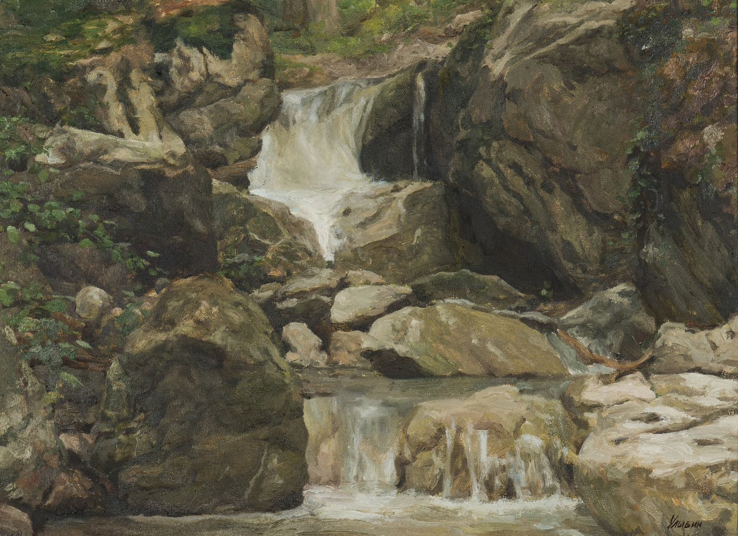 Lot 694: Gennady Ulybin O/C Painting, Forest Waterfall Landscape