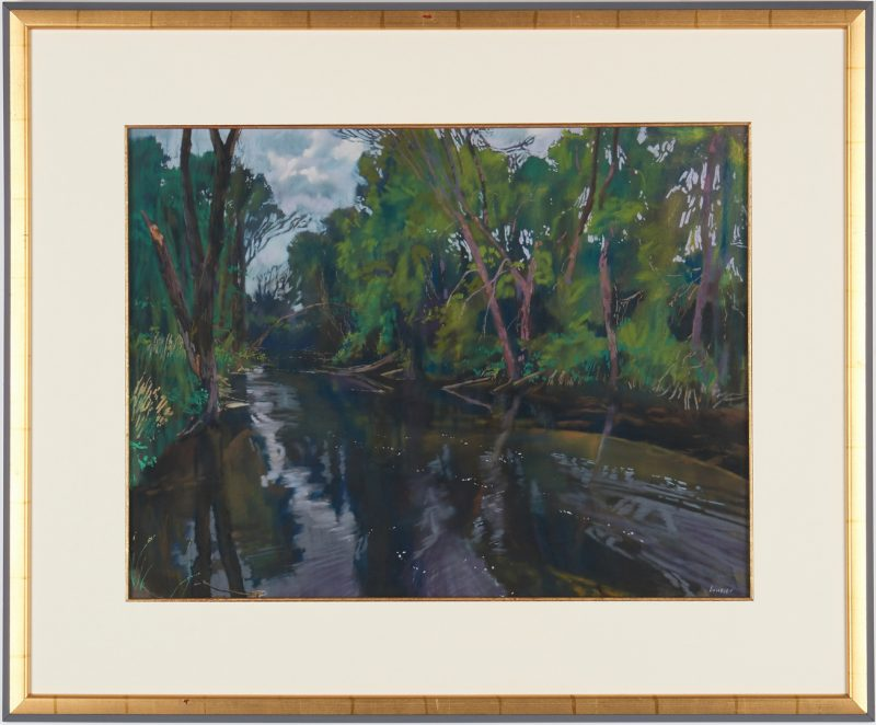 "Lot 695: Daud Akhriev Pastel on Paper, ""Below the Dam"""