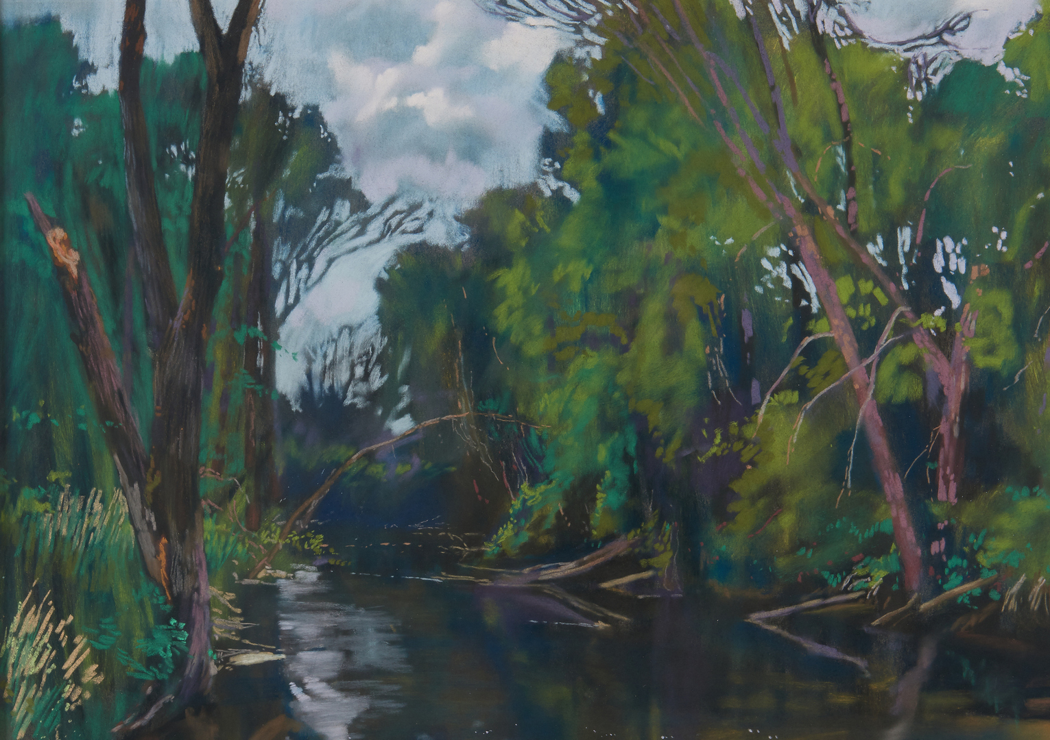 "Lot 695: Daud Akhriev Pastel on Paper, ""Below the Dam"""