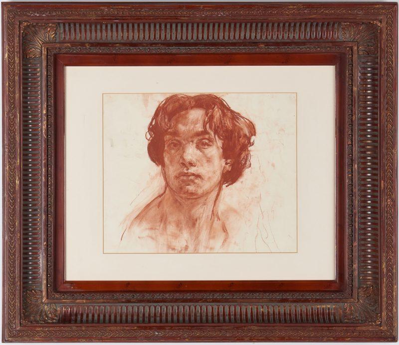 Lot 696: Nikolai Blokhin Conte Crayon Drawing, Self-Portrait