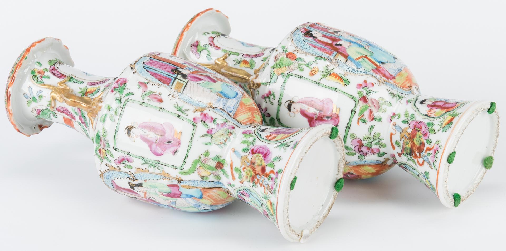 Lot 6: Pr. Chinese Export Porcelain Vases & Bowl, 3 pcs.