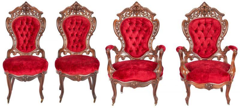 Lot 701: Four Stanton Hall Meeks Chairs: 2 Armchairs & 2 Sidechairs