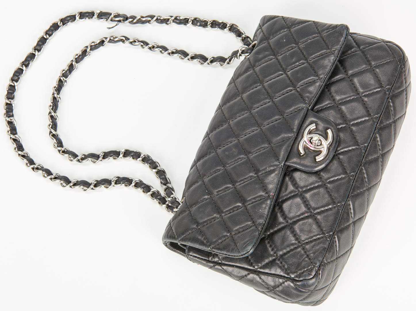 Lot 708: Chanel Classic Double Flap Black Quilted Purse, Small