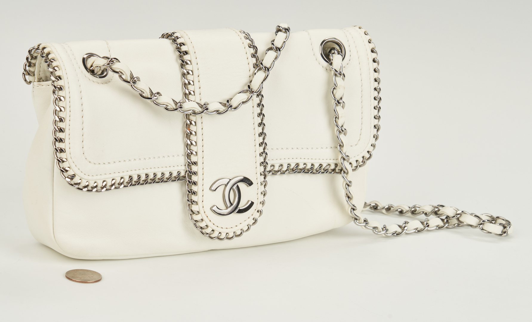 Lot 709: Chanel Madison Single Flap White Bag, Medium