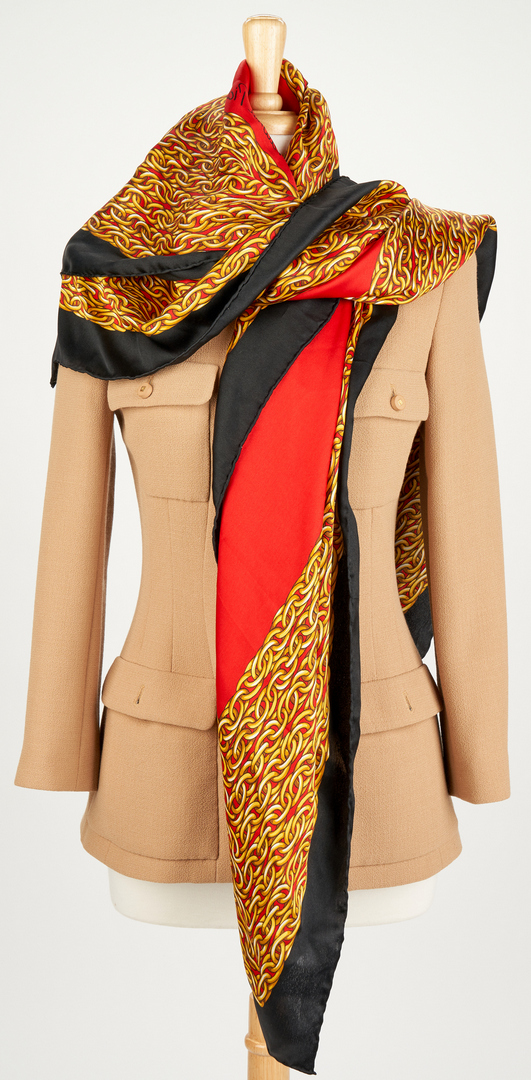 Lot 711: 2 Chanel Jackets, 1 Chanel Skirt, & 1 Picasso Scarf, 4 items