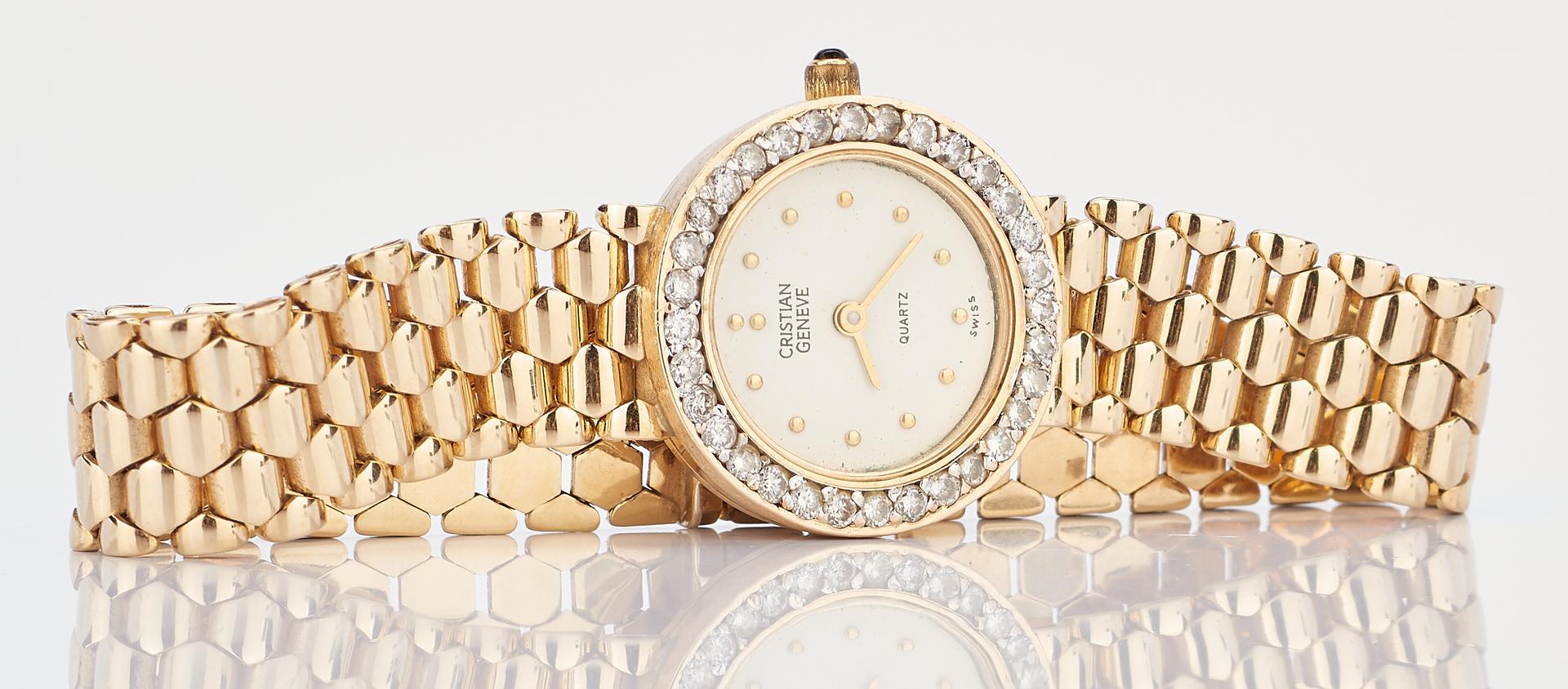 Lot 718: Cristian Geneve 14K & Diamond Swiss Quartz Watch