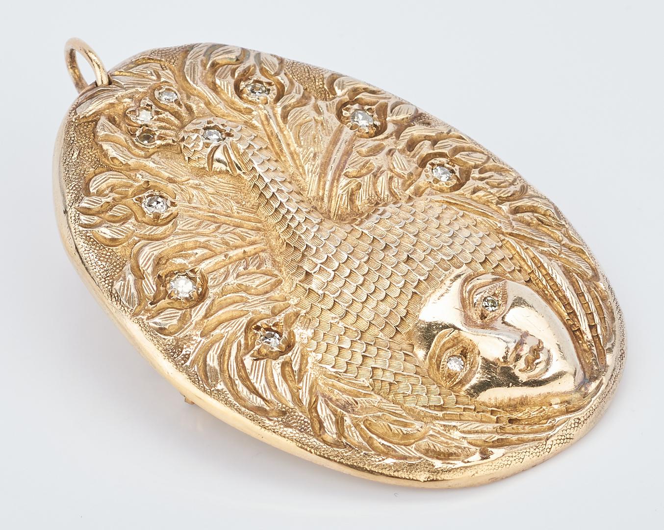 Lot 719: 14K Art Nouveau Style Gold Brooch w/ Diamonds