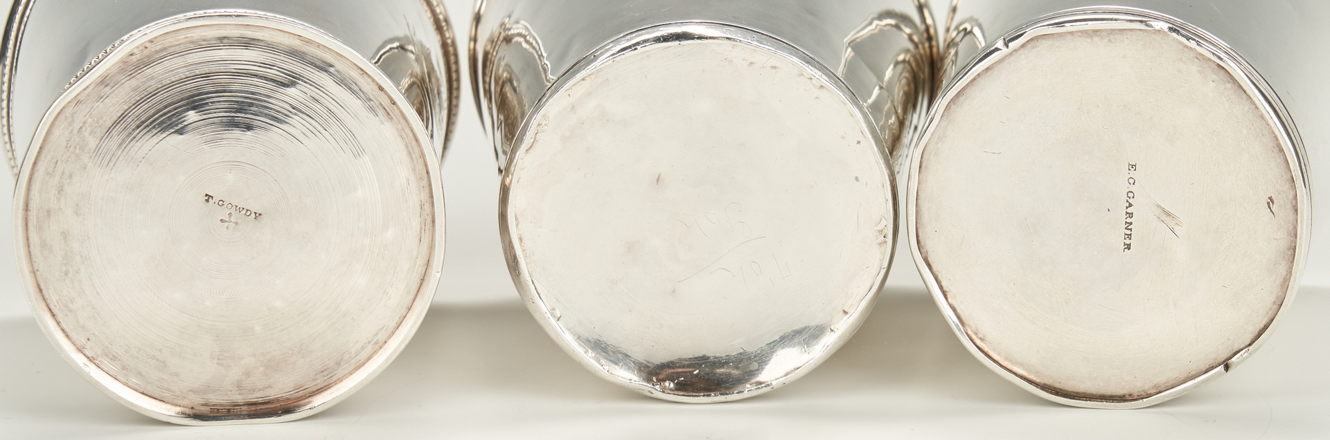 Lot 71: 3 Coin Silver Mint Julep Cups, Washington Family Crest